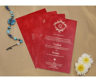 Beautiful shrub red colored wedding invite