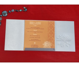 Beautiful Silver floral wedding invite