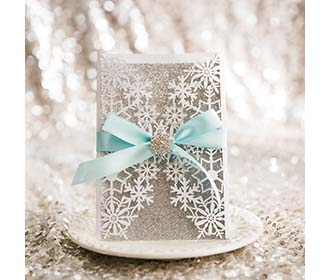 Beautiful snowflake invitation for a winter wedding -