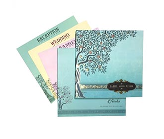 Beautiful wedding invite in pastel colors with tree of life depiction -