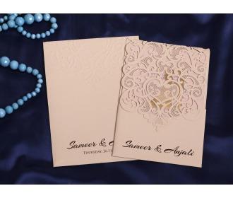 Beige colored laser cut wedding invite -