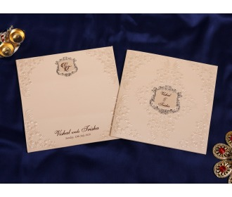 Beige colored wedding invite -