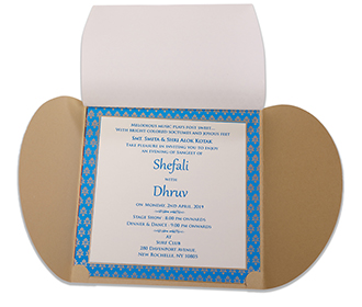 Beige colour Gate fold Royal Indian wedding invitation with golden elephants