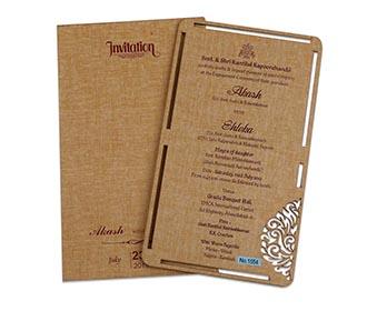 Beige colour wooden single insert laser cut wedding invitation -