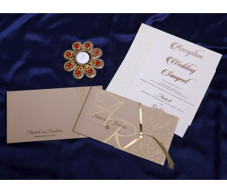 Beige floral Pull out wedding invite