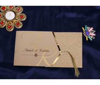 Beige floral Pull out wedding invite -