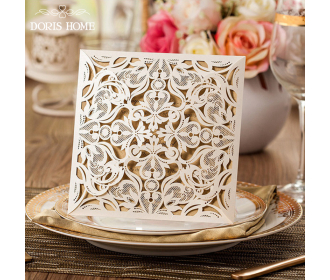 Beige Square Floral Vintage Laser Cut Wedding Invitation -