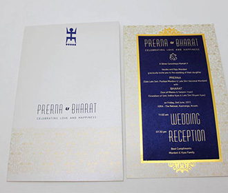 Bengali wedding invitation in blue colour with pullout insert -