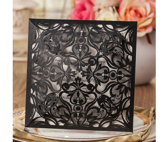 Black Laser-Cut Lace Flower Pattern Wedding Invitations Cards -