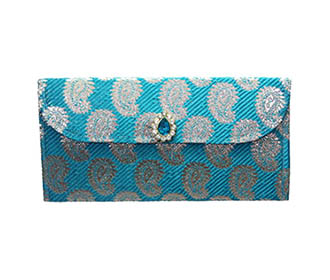 Blue Brocade Envelope..