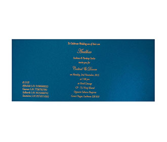Blue Color Modern Hindu Wedding Invitation With Flower Design