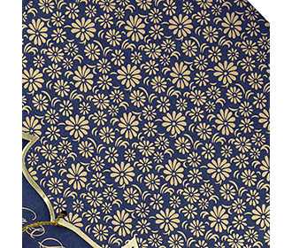 Blue color multifaith Indian wedding card in floral golden pattern