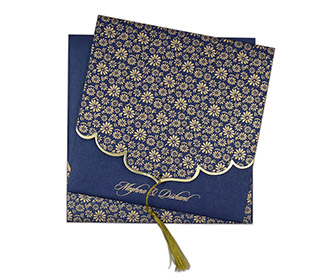 Blue color multifaith Indian wedding card in floral golden pattern -