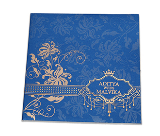 Blue colour multifaith wedding invite with golden flowers