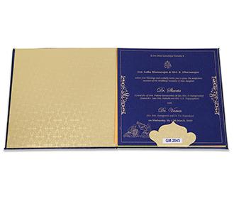 Blue Satin Indian wedding invitation with Mandala patterns