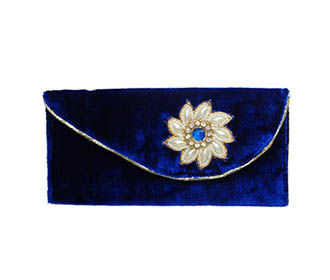 Blue Velvet & Silver Broach Hand Clutch -