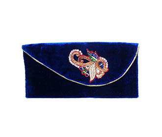 Blue velvet with silver Broach hand Clutch -