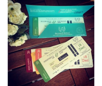 Multicolored Boarding pass styled Wedding Invite