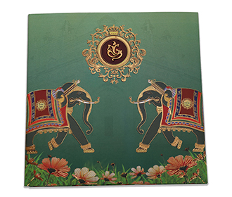 Bottle green colour wedding invite with royal elephants