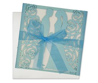 Bride & Groom Laser cut wedding invite in Phirozi colour