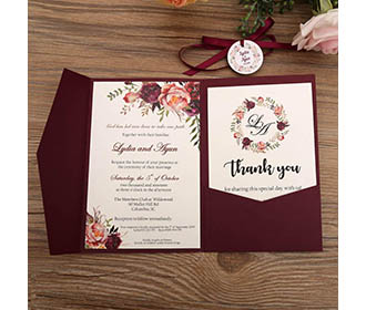 Burgundy color wedding invitation in floral theme -
