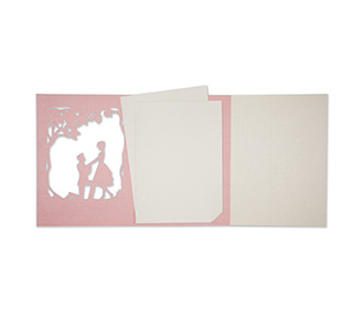 Card in Pink with a marriage proposal scene in laser cut design