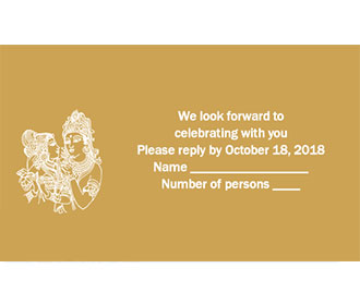 Radha Krishna RSVP Card  in Golden & White -