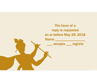 Radha Krishna RSVP Card  in Cream & Golden Color -