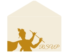 Radha Krishna RSVP Card in Cream & Golden Color