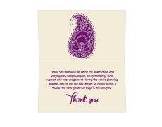 Thank you card  in Cream and Purple Paisley Design