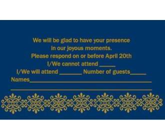 RSVP Card  in Blue & Golden Color -