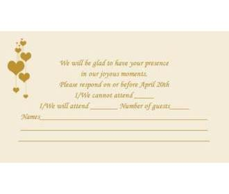 RSVP Card in Cream & Golden Color