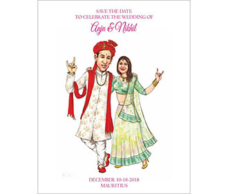 Caricature e-invitation for wedding ceremonies or save the date -
