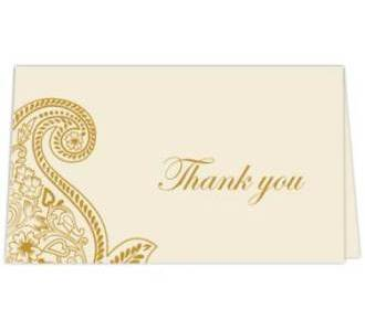 Thank you card  in Cr..