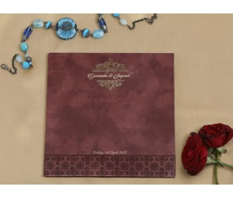 Chocalaty brown multifaith wedding invite