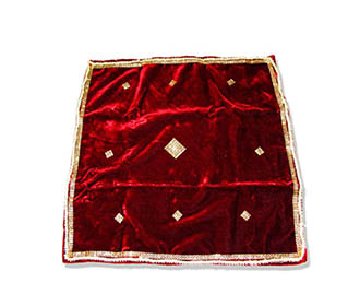 Chowki cover in velvet with stonework & lace -