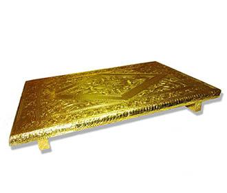 Chowki in Textured Golden Foil -