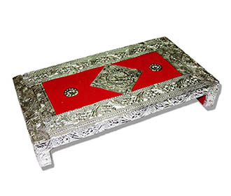 Chowki in Textured Silver foil with Red velvet -