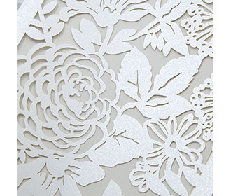 Christian Indian Wedding Card with laser cut flowers in Ivory colour