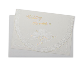 Christian wedding invitation with embossed flowers, doves & a heart