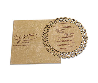 Circle shaped cream color laser cut wedding invite in cardboard -