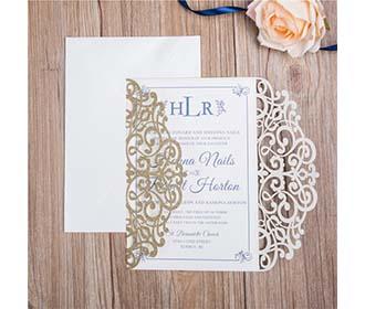 Classic Lace Ivory Glitter Paper Laser cut Wedding Invitation