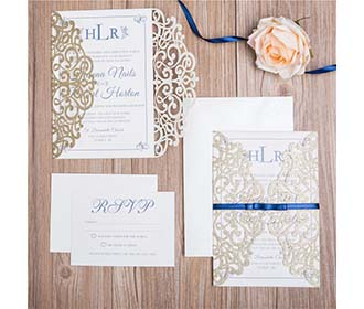 Classic Lace Ivory Glitter Paper Laser cut Wedding Invitation -