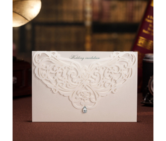 Classic Wedding Invitations With Rhinestone & Laser Cut Flower -