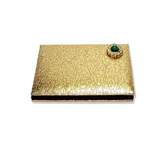 Coin box in Golden Rexine and Brooch -