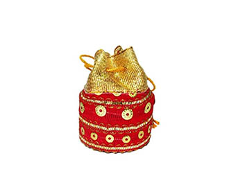 Coin pouch in red and golden