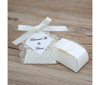Cream color Rose design Laser Cut Wedding Favor boxes
