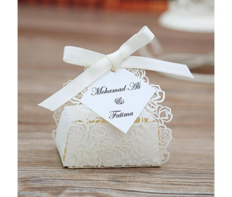 Cream color Rose design Laser Cut Wedding Favor boxes -