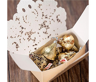 Cream Floral Lasercut Wedding and Engagement Favor Boxes
