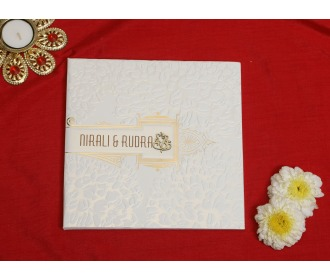 Cream Ganesha wedding invite